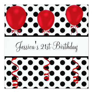 Birthday Party Black & White Spots Red Balloons Invitation
