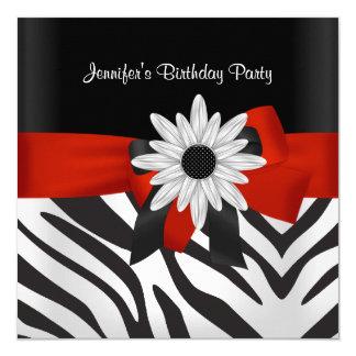 Birthday Party Black Zebra Stripe Red Flower Invitation