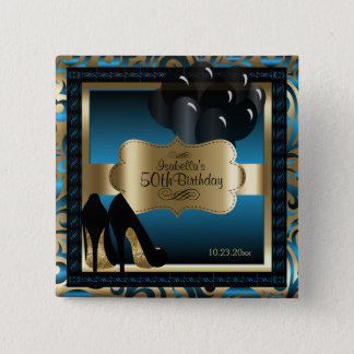 Birthday Party   Blue and Gold Pinback Button
