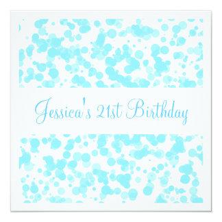 Birthday Party Blue Bubbles & White 5.25x5.25 Square Paper Invitation Card