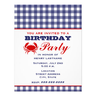 Birthday Party Blue Gingham & Crab Personalized Invite