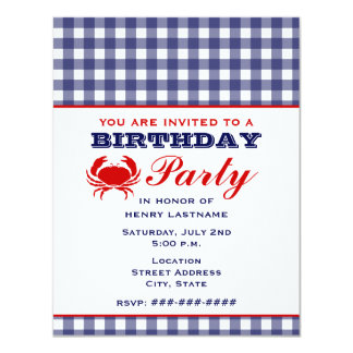 Birthday Party Blue Gingham & Crab 4.25x5.5 Paper Invitation Card