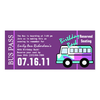 "Birthday  Party Bus Pass 4"" X 9.25"" Invitation Card"