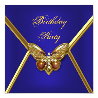 Birthday Party Butterfly Deep Blue Gold Image Card