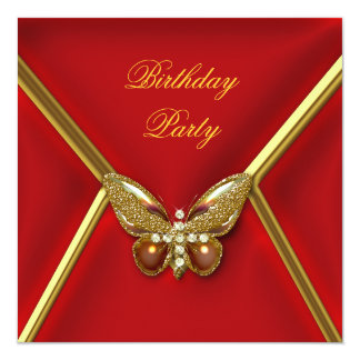 Birthday Party Butterfly Deep Red Gold Image Card