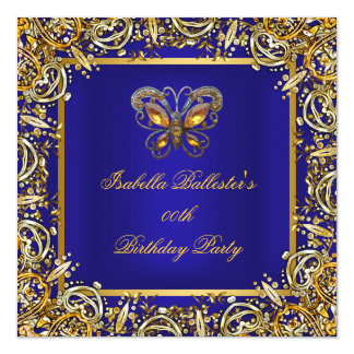 Birthday Party Butterfly Deep RoyalBlue Gold Image Card