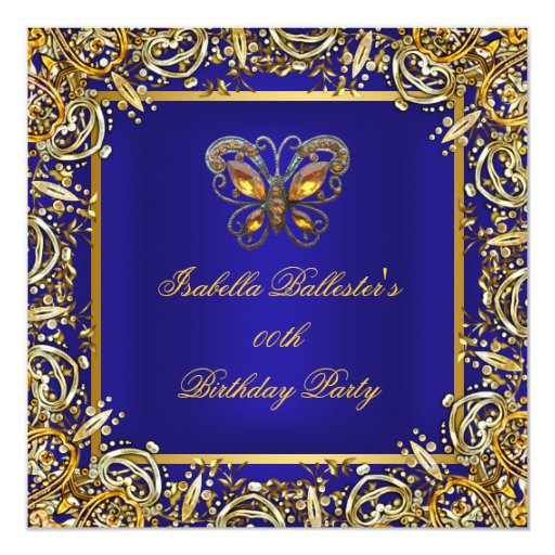 Birthday Party Butterfly Deep RoyalBlue Gold Image 5.25x5.25 Square Paper Invitation Card