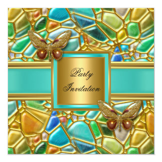 """Birthday Party Butterfly Gold Aqua Blue Mosaic 5.25"""" Square Invitation Card"""
