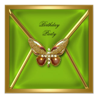 Birthday Party Butterfly Lime Green Gold Image Card