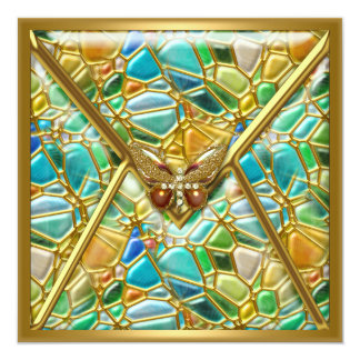 Birthday Party Butterfly Mosaic Gold Image Card
