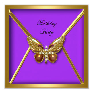 Birthday Party Butterfly Purple Gold Image Card