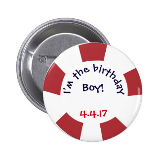 Birthday Party Button- Nautical Party Badge Button