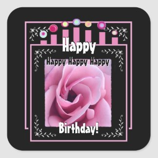 Birthday Party Candles and Pink Rose sticker