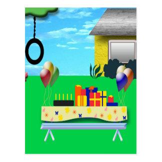 Birthday Party Cartoon Illustration Postcard