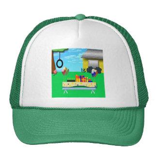 Birthday Party Cartoon Illustration Trucker Hat