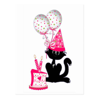 Birthday Party Cat Postcard