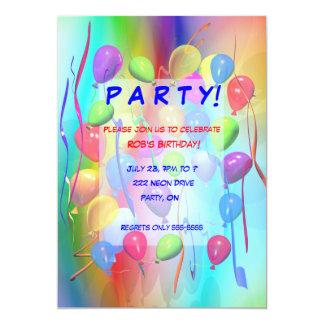 Birthday Party Celebration Balloons 5x7 Paper Invitation Card