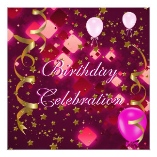 Birthday Party Celebration Pink Gold Stars Balloon Custom Announcements
