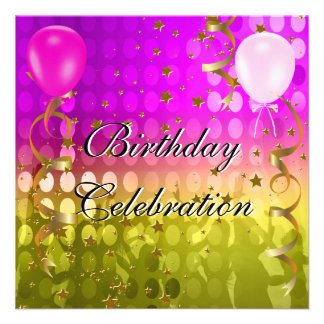 Birthday Party Celebration Pink Gold Stars Balloon Announcements