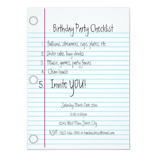 birthday party checklist birthday checklist card zazzle 28932