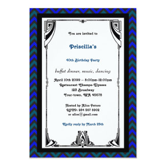 Birthday Party,Chevron chic,white black green blue Card