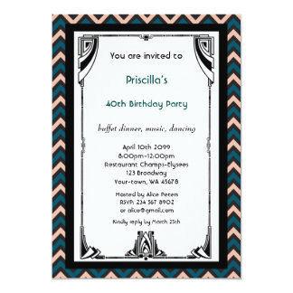 Birthday Party, Chevron chic,white black pink gold Card
