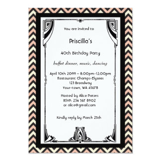 Birthday Party,Chevron chic,white black pink ivory Card