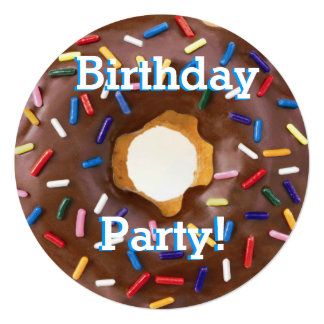 Birthday Party Chocolate with Sprinkles Donut Card