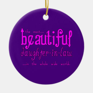 Birthday Party Christmas Beautiful Daughter in Law Double-Sided Ceramic Round Christmas Ornament
