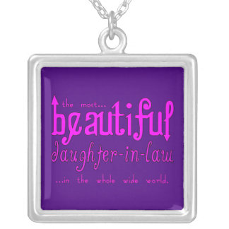 Birthday Party Christmas Beautiful Daughter in Law Square Pendant Necklace