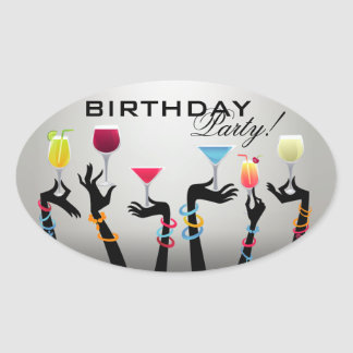 Birthday Party Cocktail Oval Sticker