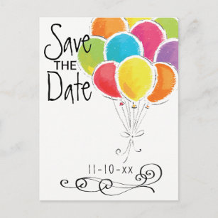 Birthday Party Colorful Balloons Save The Date Announcement Postcard