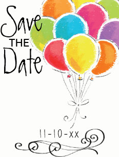 birthday balloons save the date cards zazzle
