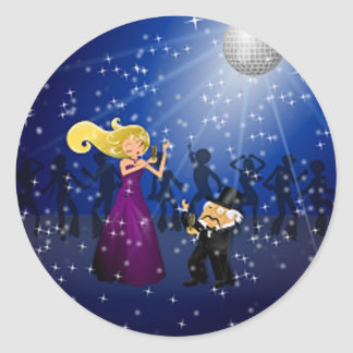 Birthday Party Couple Dancing Round Sticker