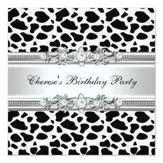 Birthday Party Cow Print Diamond Image Invitation