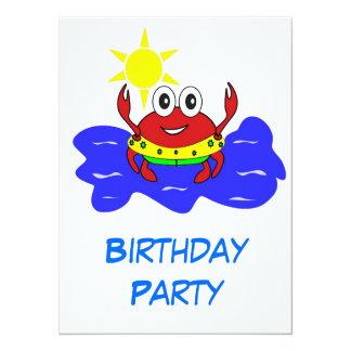 birthday party crab invitation