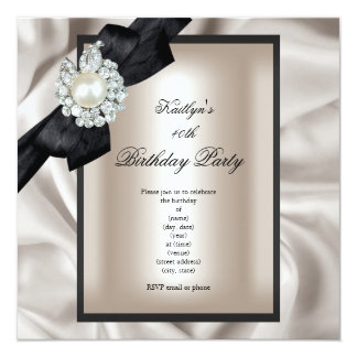 Birthday Party Cream Black Pearl Card