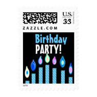 Birthday Party Custom Stamp BLUE Striped Candles stamp