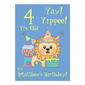 Birthday Party-Cute Lion+Colorful Cake, Party Hats Card