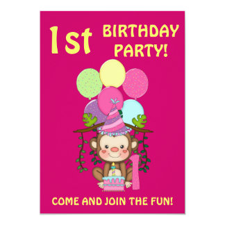 Birthday Party-Cute Monkey+Colorful Balloons Card