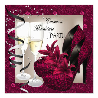 Birthday Party Damask Pink Red Shoes Cream 2 Card