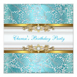 Birthday Party Damask Teal Blue Gold White Diamond Personalized Announcement