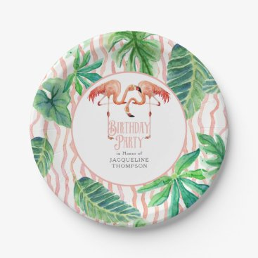 Beach Themed Birthday Party Decor Leaf Pink Flamingo Watercolor Paper Plate