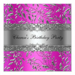 Birthday Party Diamond Hot Pink Floral Silver Personalized Announcement