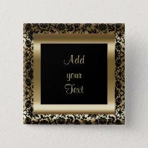 Birthday Party   DIY Text   Black Gold Pinback Button