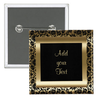 Birthday Party | DIY Text | Black Gold Pinback Button