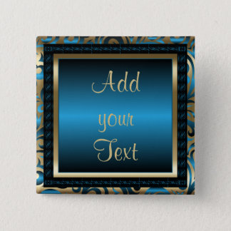 Birthday Party | DIY Text | Blue Pinback Button