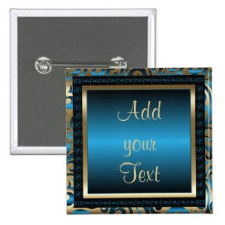 Birthday Party | DIY Text | Blue Pinback Button