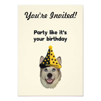 Birthday Party Dog 5x7 Paper Invitation Card