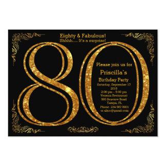 Birthday party, Eighty, great Gatsby, black & gold Card